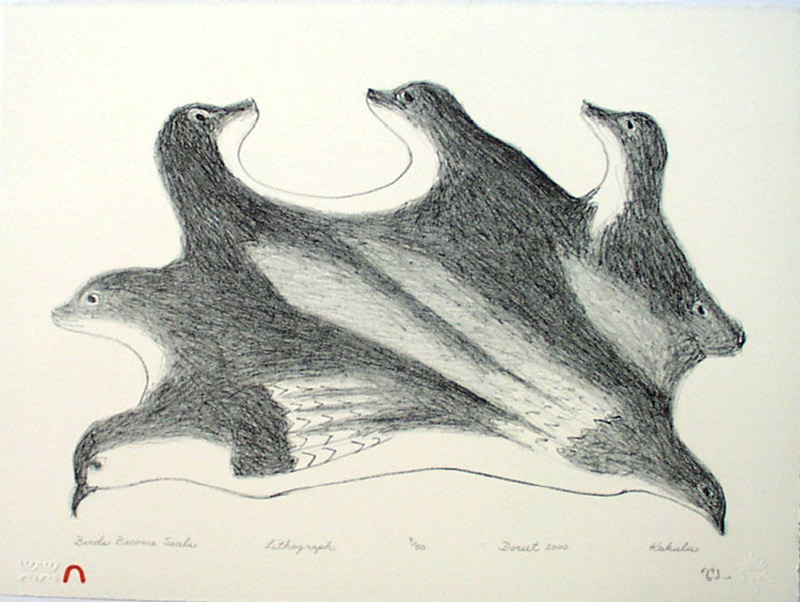 Kakulu Saggiaktok  BIRDS BECOME SEALS Lithograph   2000 28.4 x 38 cm $300.00 CDN Released in the 2000 Spring collection Dorset ID#: 2000-S04