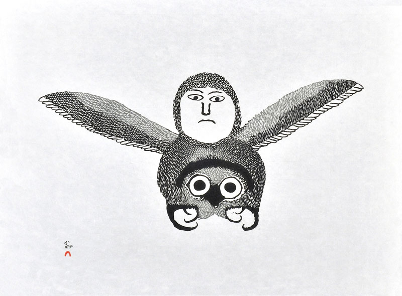 Ohotaq Mikkigak  IGUTSAQ (THE BEE) Stonecut & Stencil   2000 45.9 x 62.2 cm $400.00 CDN Released in the 2000 collection Dorset ID#: 00-25