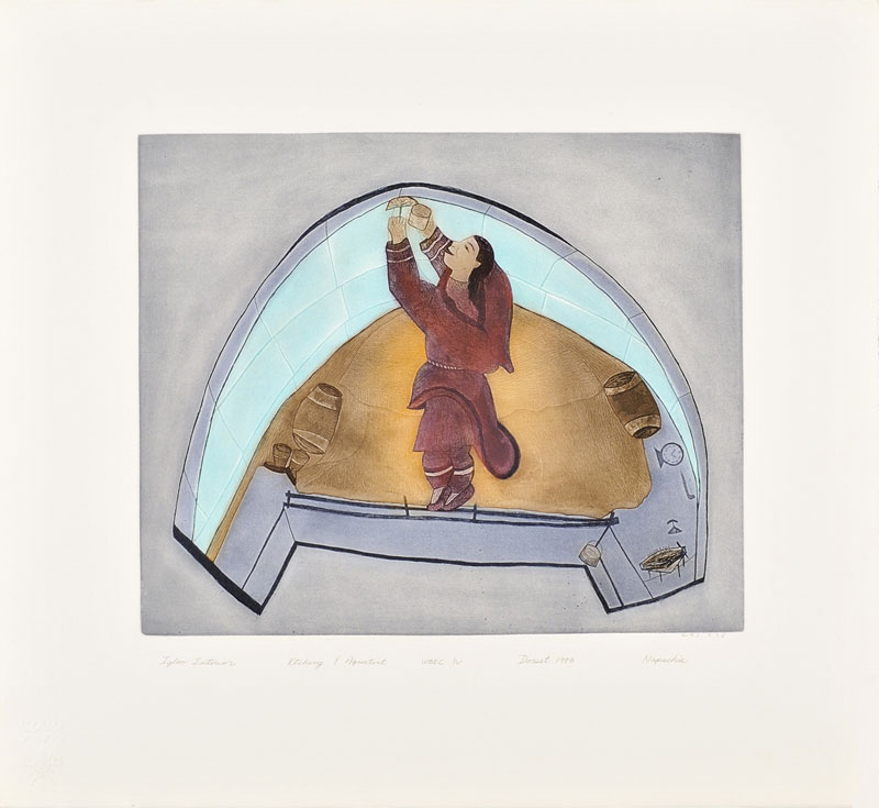 Napachie Pootoogook  IGLOO INTERIOR Etching & Aquatint   1998 66 x 61 cm $400.00 CDN Released in the 1998 collection Dorset ID#: 98-13
