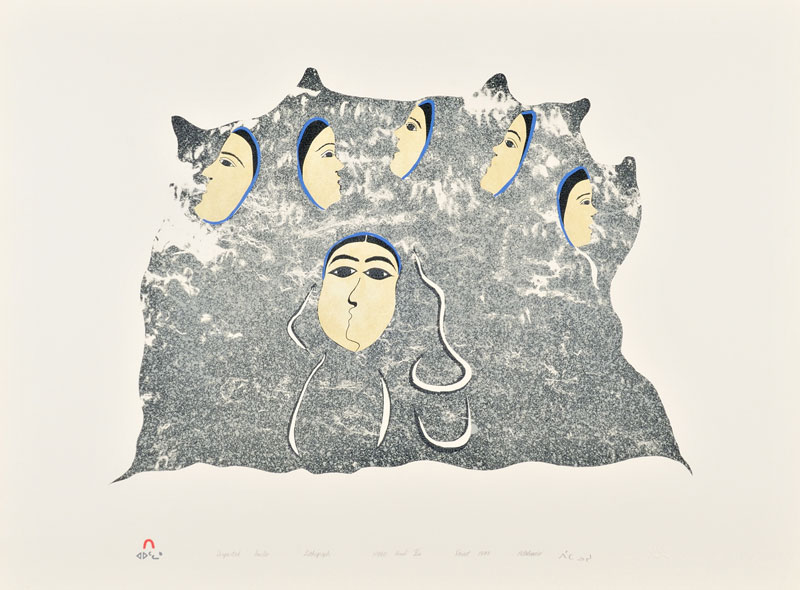 Pitaloosie Saila DEPARTED SOULS Lithograph   1997 57 x 77 cm $400.00 CDN Released in the 1997 collection Dorset ID#: 97-19