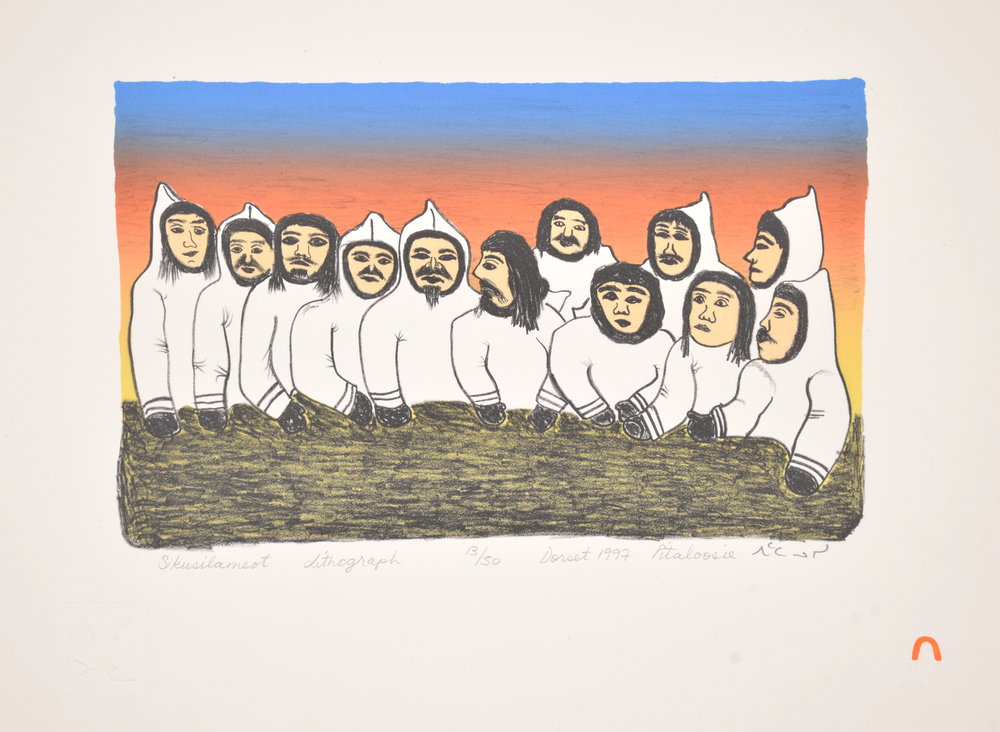 Pitaloosie Saila  SIKUSILAMEOT (PEOPLE FROM SOUTH BAFFIN) Lithograph   1997 29 x 39 cm $300.00 CDN Released in the 1997 collection Dorset ID#: 97-20