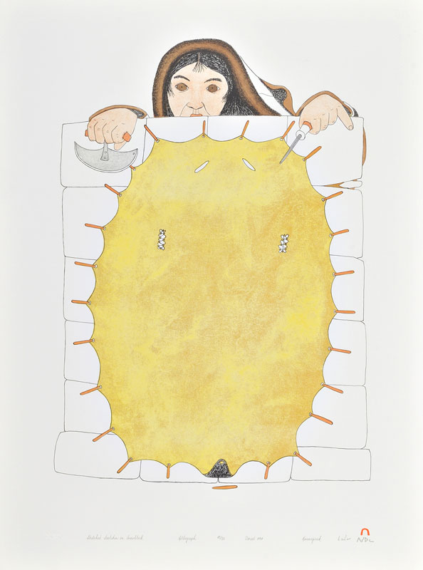 Kananginak Pootoogook STRETCHED SEALSKIN ON SNOWBLOCK Lithograph   1994 76.1 x 56.8 cm $400.00 CDN Released in the 1994 collection Dorset ID#: 94-08