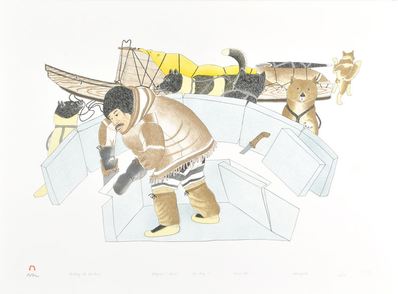 Kananginak Pootoogook BUILDING THE SNOWHOUSE Lithograph   1993 56.7 x 76.6 cm $400.00 CDN Released in the 1993 collection Dorset ID#: 93-09