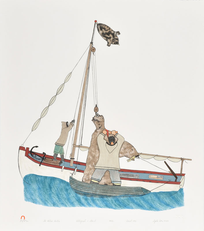 Iyola Kingwatsiak THE WALRUS HUNTERS Lithograph   1992 64.1 x 56.5 cm $300.00 CDN Released in the 1992 collection Dorset ID#: 92-05