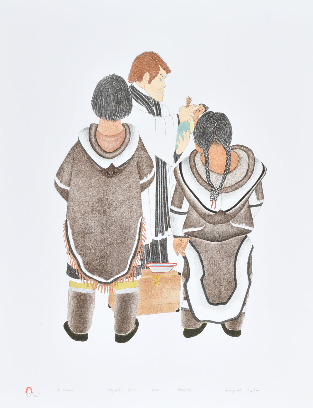 Kananginak Pootoogook THE BAPTISM Lithograph   1992 66.2 x 51.4 cm $400.00 CDN Released in the 1992 collection Dorset ID#: 92-16