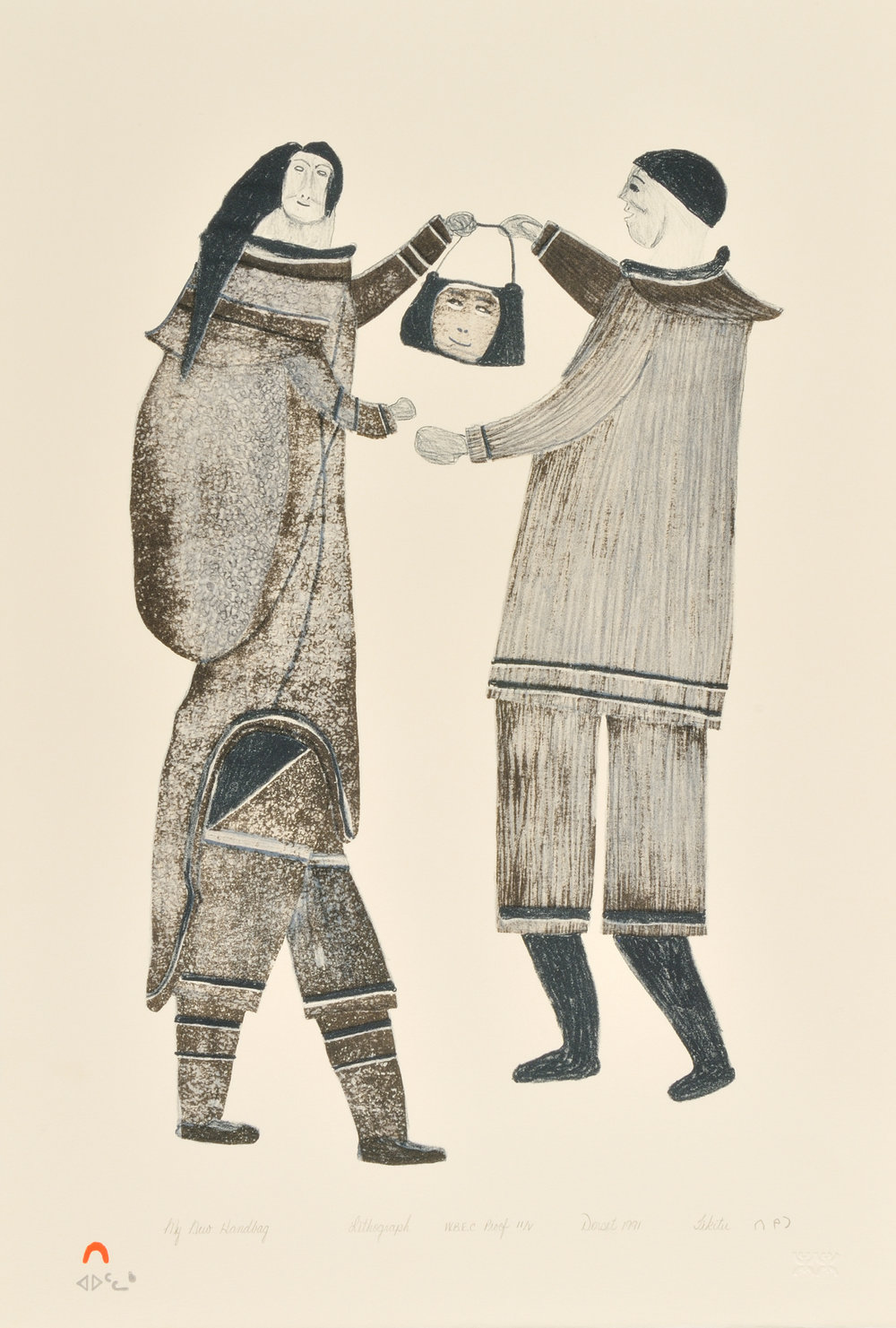 Tikitu Qinnuayuak MY NEW HANDBAG Lithograph   1991 56.7 x 38.1 cm $300.00 CDN Released in the 1991 collection Dorset ID#: 91-32