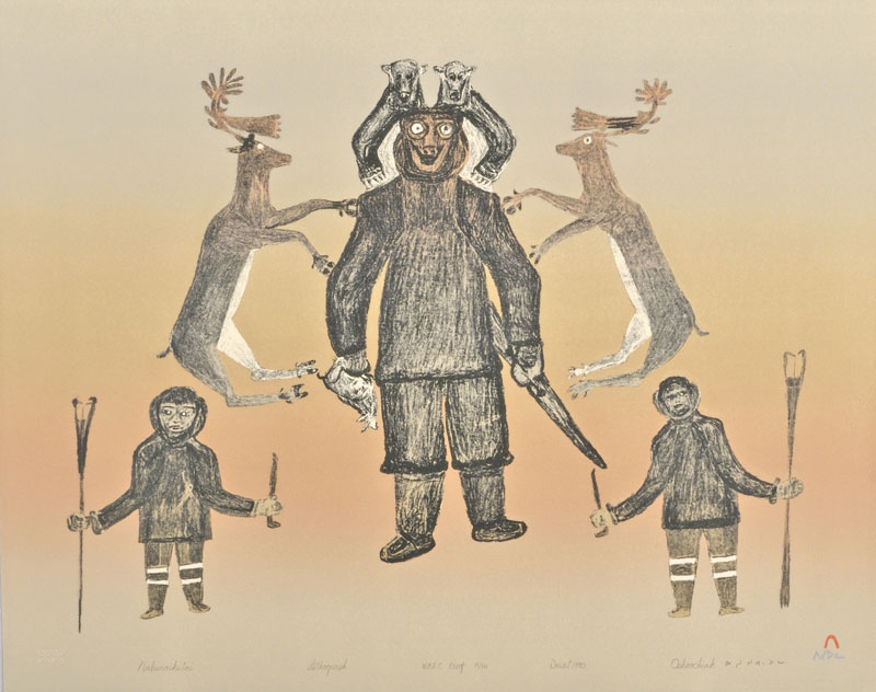 Oshoochiak Pudlat NALUNAIKUTAI Lithograph   1990 51 x 63.5 cm $350.00 CDN Released in the 1990 collection Dorset ID#: 90-11