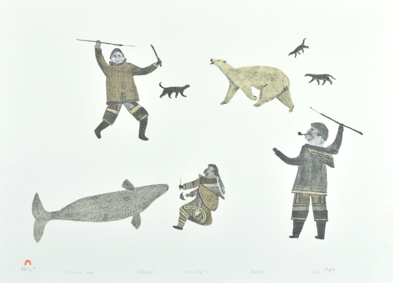 Tikitu Qinnuayuak A BEAR IN CAMP Lithograph   1990 48.4 x 66 cm $300.00 CDN Released in the 1990 collection Dorset ID#: 90-29
