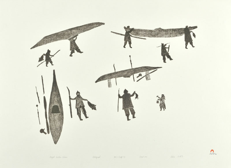 Tikitu Qinnuayuak KAYAK HUNTERS RETURN Lithograph   1990 55.7 x 76.5 cm $300.00 CDN Released in the 1990 collection Dorset ID#: 90-30