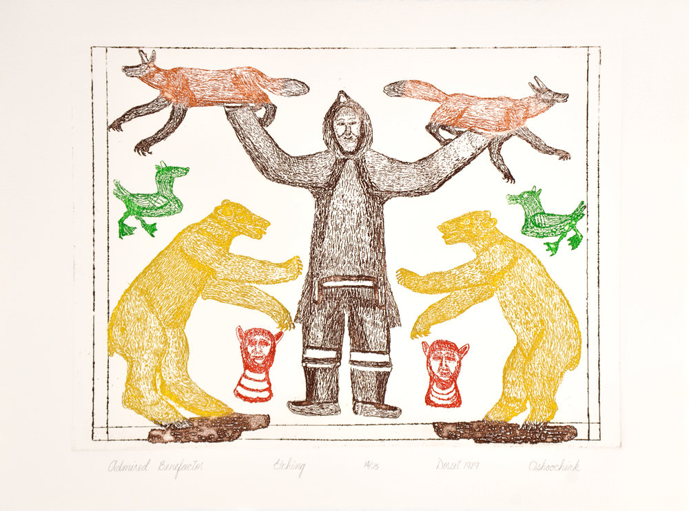 Oshoochiak Pudlat ADMIRED BENEFACTOR Etching   1990 28 x 38 cm $275.00 CDN Released in the 1990 collection Dorset ID#: 90-OE2