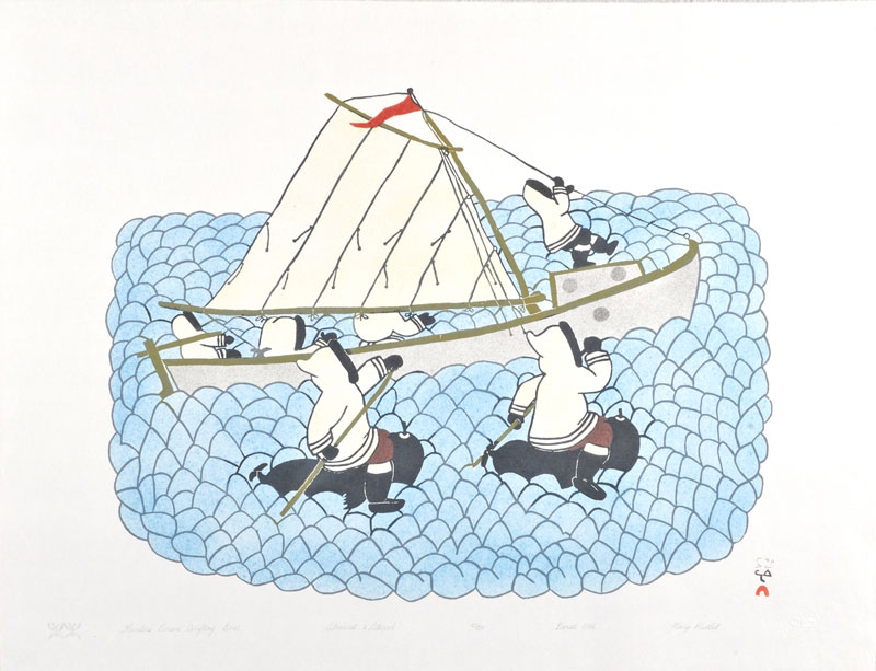 Mary Pudlat HUNTERS PURSUE DRIFTING BOAT Stonecut & Stencil   1986 55 x 70 cm $300.00 CDN Released in the 1986 collection Dorset ID#: 86-18