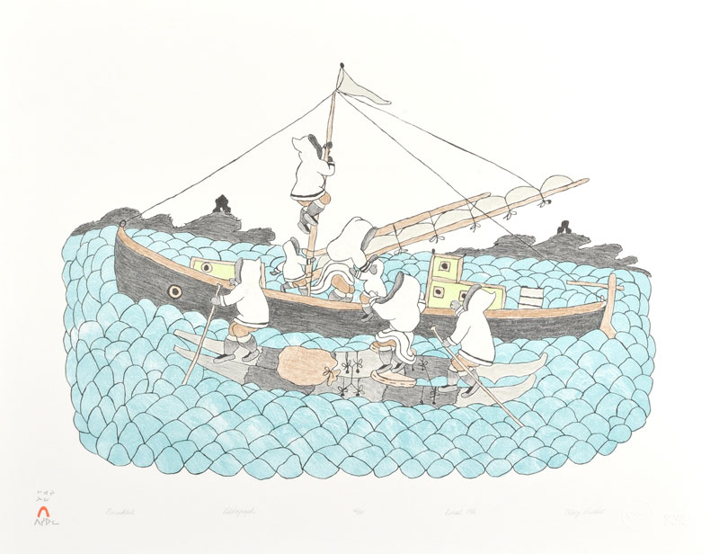 Mary Pudlat PARNAKTUT (LOADING THE BOAT) Lithograph   1986 51.7 x 66.5 cm $300.00 CDN Released in the 1986 collection Dorset ID#: 86-19