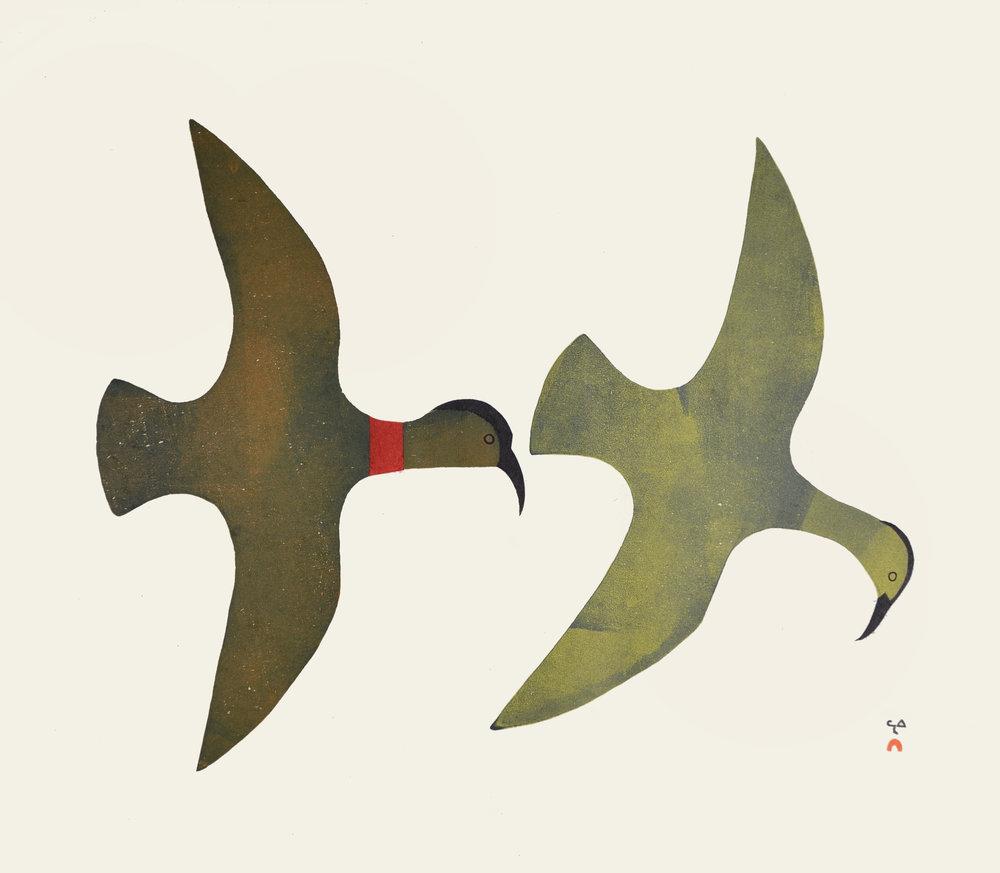 Kingmeata Etidlooie  BIRDS IN SILHOUETTE Stonecut & Stencil 1986 61 x 70 cm $800.00 CDN Dorset ID#: 86-2002