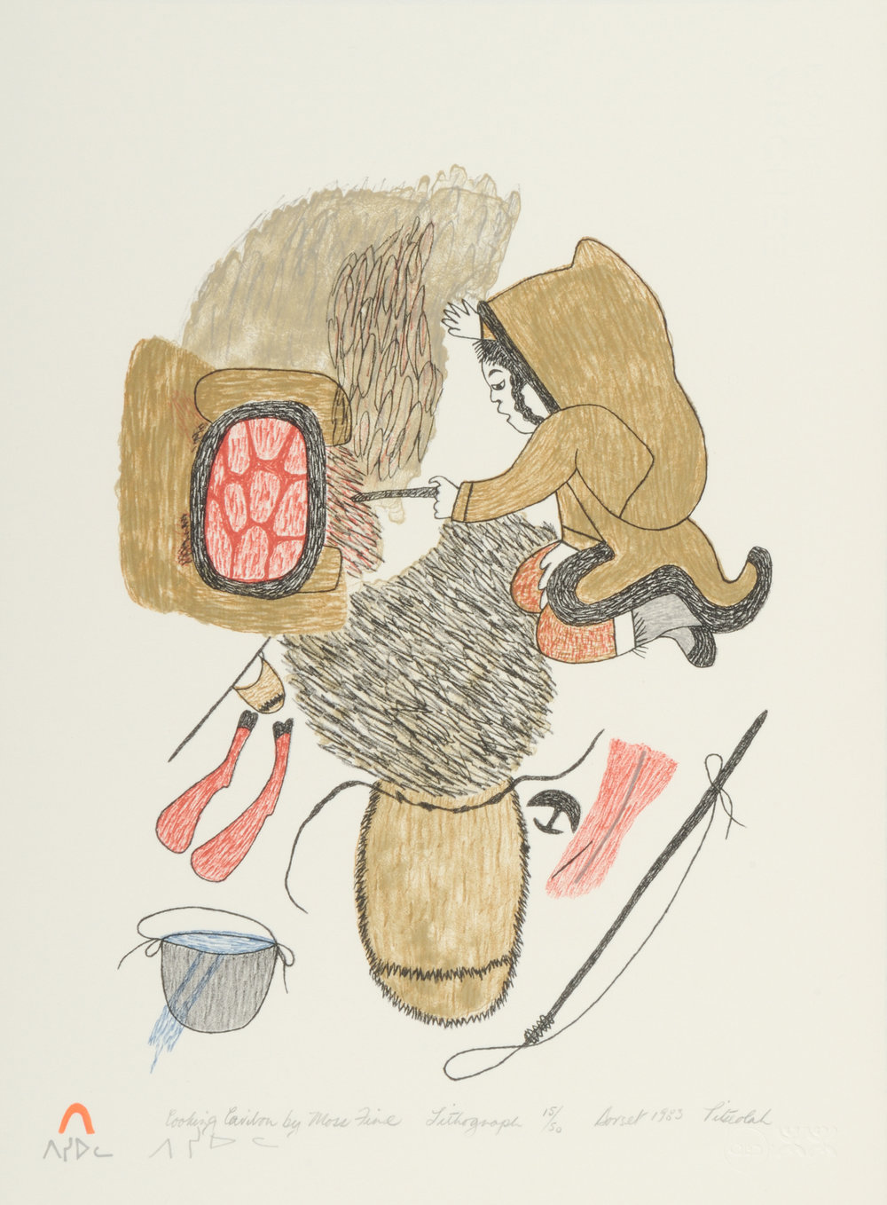 Pitseolak Ashoona COOKING CARIBOU BY MOSS FIRE Lithograph   1984 38 x 28.2 cm $175.00 CDN Released in the 1984 collection Dorset ID#: 84-F202