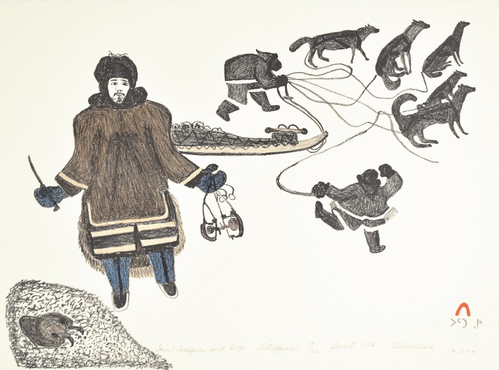Oshoochiak Pudlat  INUIT TRAPPERS AND DOGS Lithograph 1984 27 x 36.3 cm $250.00 CDN Released in the 1984 collection Dorset ID#: 84-F501