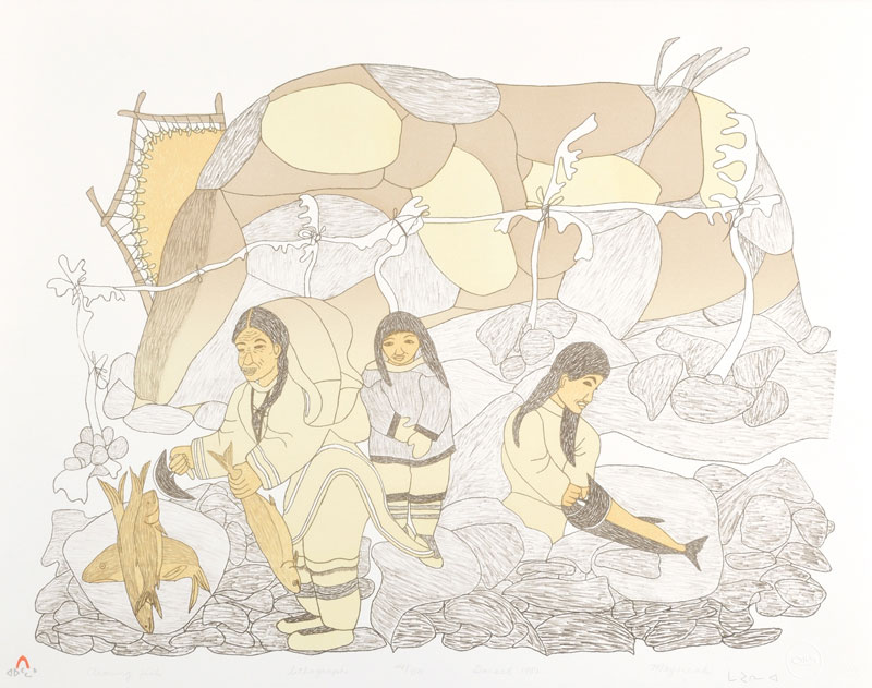 Mayoreak Ashoona  CLEANING FISH Lithograph   1981 55.5 x 71 cm $300.00 CDN Released in the 1981 collection Dorset ID#: 81-L20