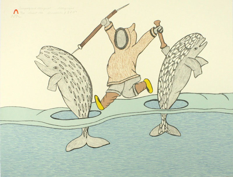 Soroseelutu Ashoona  TUNGAAK AND ALUNGUAT Lithograph   1980 39 x 50.5 cm $225.00 CDN Released in the 1980 collection Dorset ID#: 80-L29