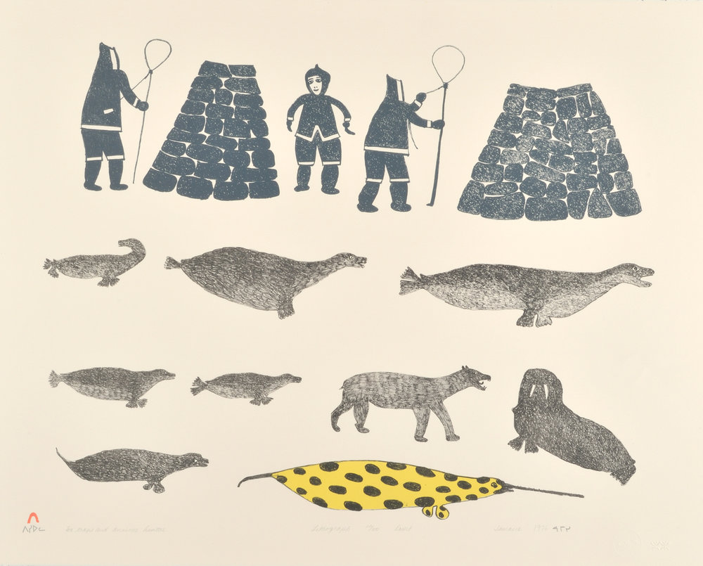 Jamasie Teevee FOX TRAPS & ANXIOUS HUNTERS Lithograph   1976 55.9 x 68.6 cm $375.00 CDN Released in the 1976 collection Dorset ID#: 76-L12