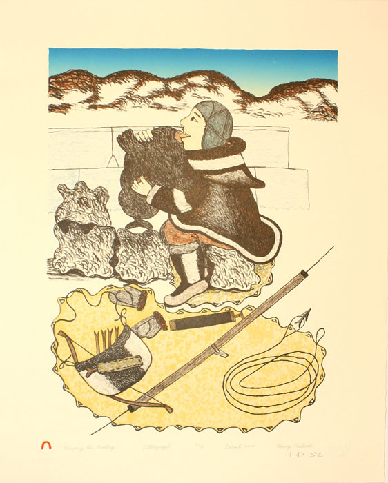Mary Pudlat  BLOWING THE AVATAQ Lithograph   2000 51.6 x 41 cm $350.00 CDN Released in the 2000 Spring collection Dorset ID#: 2000-S10