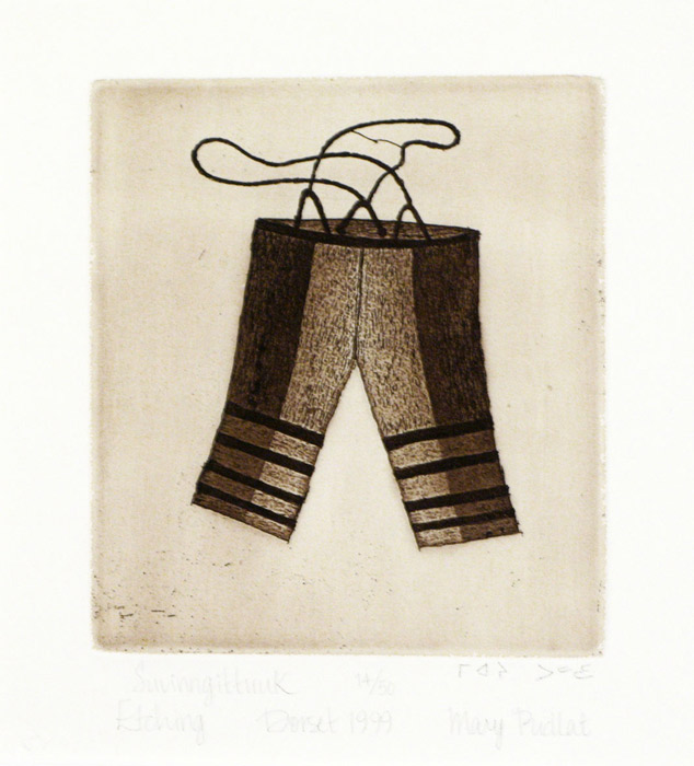 Mary Pudlat SUVINNGITTUUK (SEALSKIN PANTS) Etching & Aquatint   2000 30.9 x 25.5 cm $300.00 CDN Released in the 2000 Spring collection Dorset ID#: 2000-S11