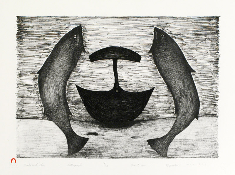 Napachie Pootoogook  FISH AND ULU Lithograph   2000 38.2 x 51 cm $350.00 CDN Released in the 2000 Spring collection Dorset ID#: 2000-S13