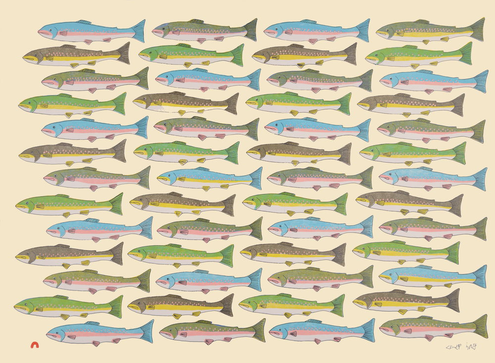 PAUOJOUNGIE SAGGIAK   Counting Char   Lithograph 2016  56 x 76.5 cm  $ 550  Dorset ID#: 16-13