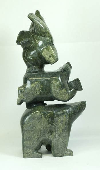 Joannie Ragee 6552J Three Bears, 2016 Serpentinite h 26 x 13 d 7 in