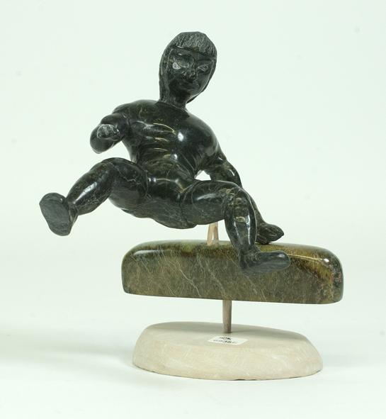Isaaci Etidloie 6838E Gymnast, 2011 Serpentinite, Antler h 7 x w 6.5 x d 5.5 in