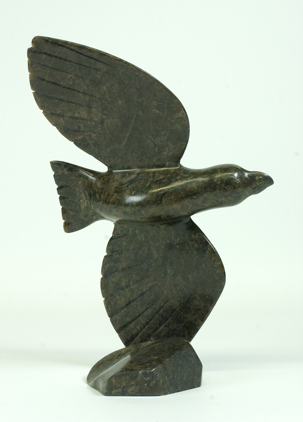 Ningeosiaq Ashoona  7344K Flying Bird, 2017  Serpentinite   h 12 x w 8 x 4 in