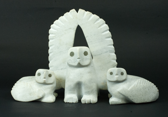 "7529G Adamie Qaumagia Owl with Chicks,2012 Serpentinite    H 10.5""  W16.5""  D 4.5"""