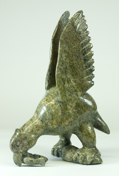 "6734I Bird with Fish, 2014 Serpentinite H18"" x W11.5"" x D7.5"""