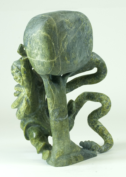"""Pootoogook Jaw  6519I Eve and the Tree of Knowledge, 2015 Serpentinite H14"""" W10""""  D8.5"""""""