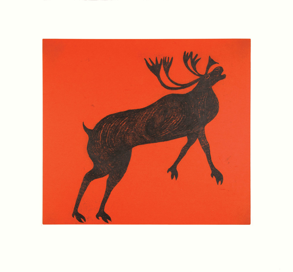 QUVIANAQTUK PUDLAT   Rearing Caribou   Etching & Chine Collé  66 x 71 cm  $900  Dorset ID#18-34