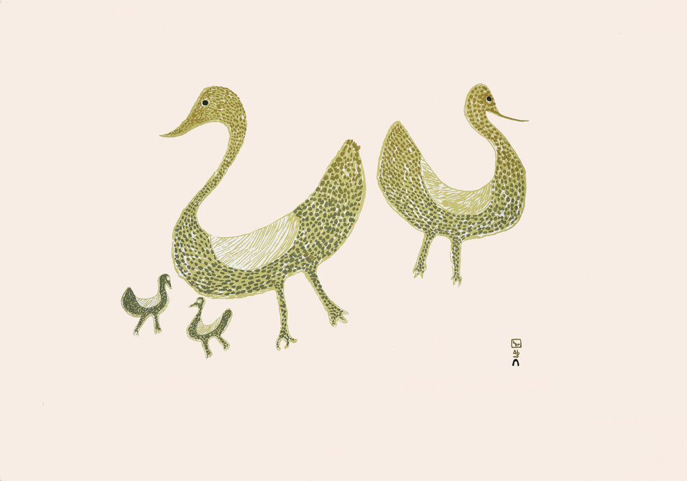 Sharni Pootoogook  Family of Birds, 1965  Serigraph  62 x 86 cm  $900  Dorset ID#18S-04