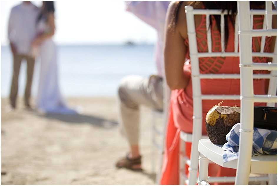A friend of Laura's couldn't make it to the wedding but was there in spirit, in the form of a coconut.