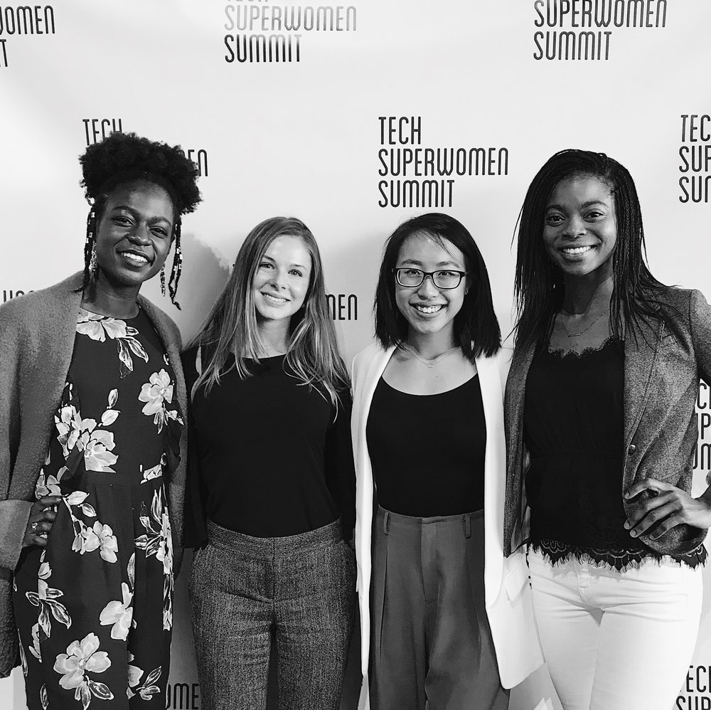 Jibby, zoe, Me + Patricia Posey, Our lovely moderator / COO of Tech superwomen (L to R)