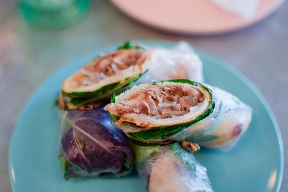 Appetizer // Crispy Duck Fresh Rolls // Duck rolls wrapped in fresh herbs & rice paper