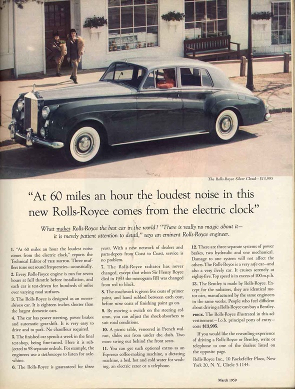 David Ogilvy's Rolls-Royce Ad from 1959 contains many excellent marketing lessons to help you write better medical ads for your practice. You can read the copy of the entire ad by clicking  here