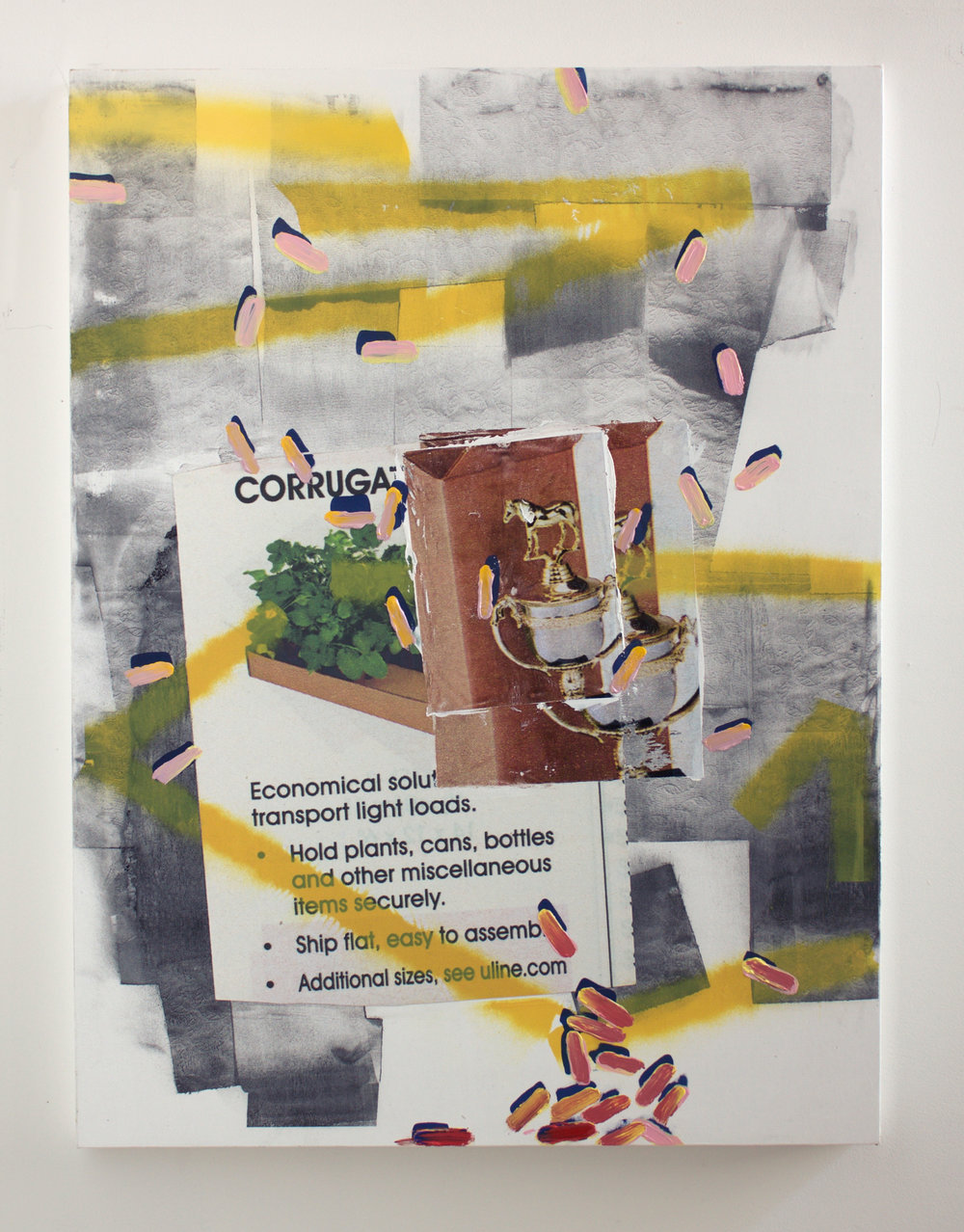 "Mike,2016, Acrylic, screenprint, copy-machine toner, collage, inkjet transfer, spray enamel on canvas, 30""x40"""