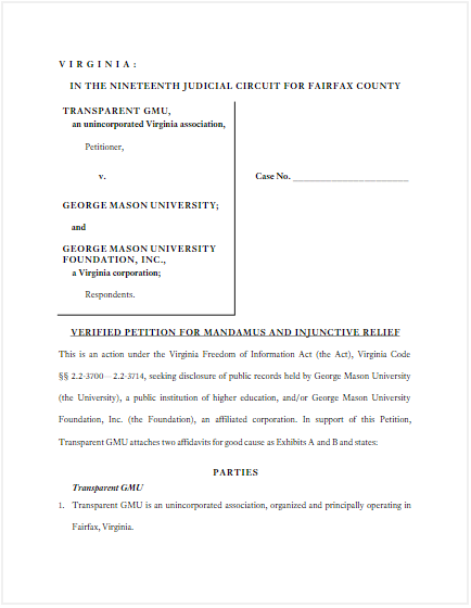 View Transparent GMU's Legal Petition
