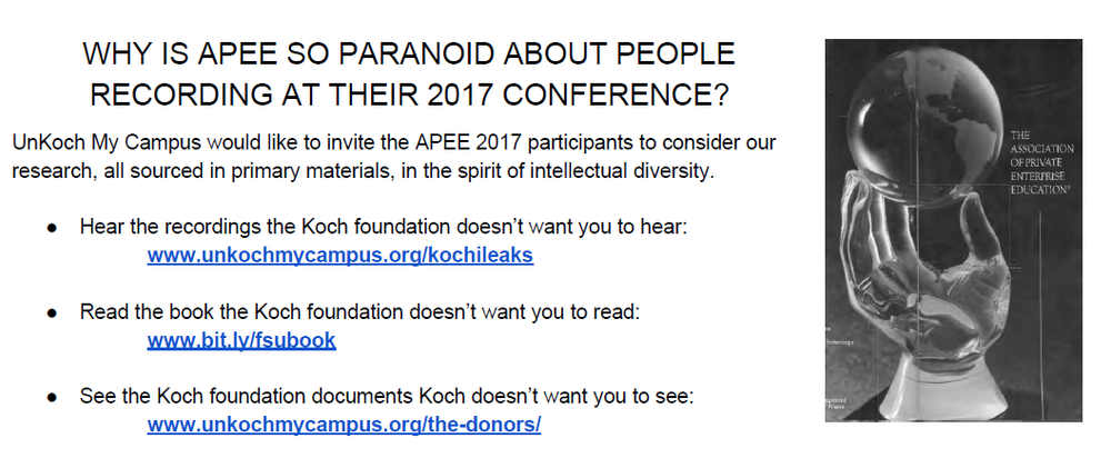 Click to read the flier distributed at APEE 2017