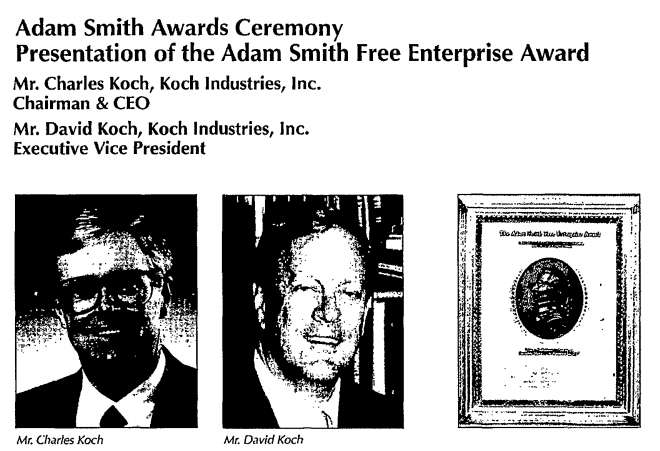 "David and Charles Koch win an award at ALEC's 1994 meeting, where Meese, Gingrich, Norquist and others are seen pushing ""tough on crime"""