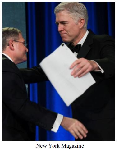 The Federalist Society's Leonard Leo and Neil Gorsuch Celebrating ( NYM )