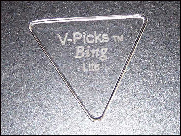 The   Bing Lite V-Pick   is 1.5mm thick and great for flat-picking!