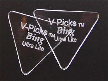 The   Bing Ultra Lite V-Pick   is .80mm thick and is perfect for both strumming and flat-picking!