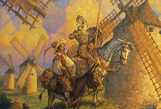 """Lovely day for tilting at windmills, eh Sancho?"""