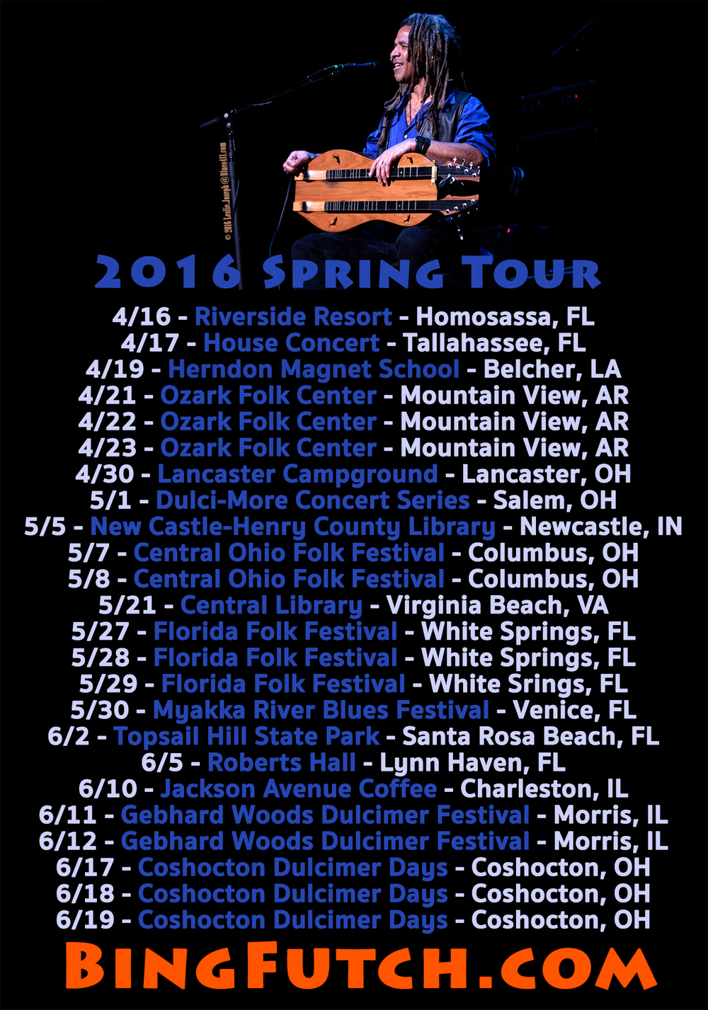 Bing displays his trusty Folkcraft Instruments double-dulcimer to the crowd at The Orpheum Theater above a listing of spring tour dates.