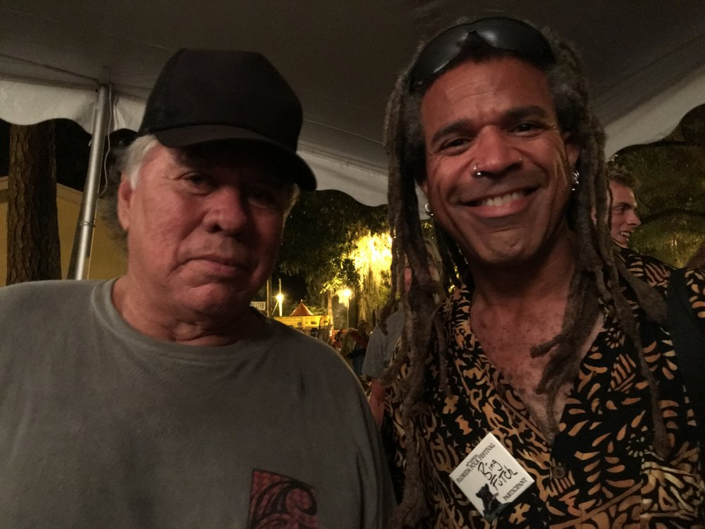 "The highlight of summer tour: meeting Chief Jim Billie of the Seminole Nation after a screening of his film ""Wrestling With Alligators: The New Seminole Wars.""  Jim was awesome, spoke with me at length about my family and I even had the honor of playing and singing ""Big Alligator"" with him later on in a jam with Raiford Starke.  An incredible man; a legend."