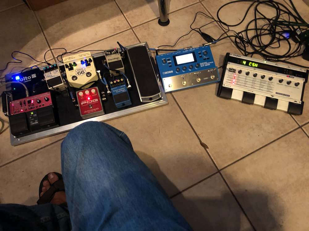 The new pedal-board set up (on the left) with Boss SY-300 and old-school Digitech Vocalist Live 4