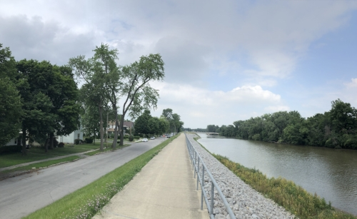 The Maumee River berm near downtown Fort Wayne, Indiana